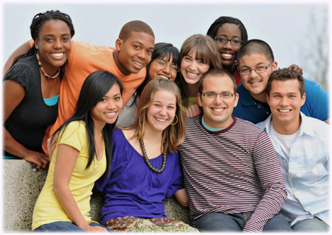 Youth Group of Smiling Teens