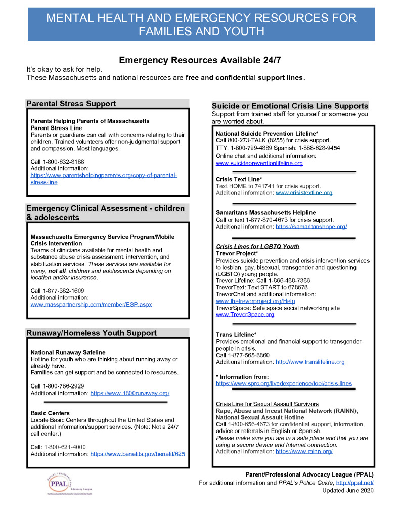 CRISIS Resource Sheet for Families and Youth