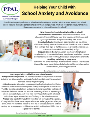 School Anxiety tipsheet